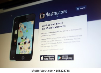 NEW YORK CITY - SEPT. 22: The homepage of photo sharing website Instagram in New York City on Sunday, September 22, 2013.