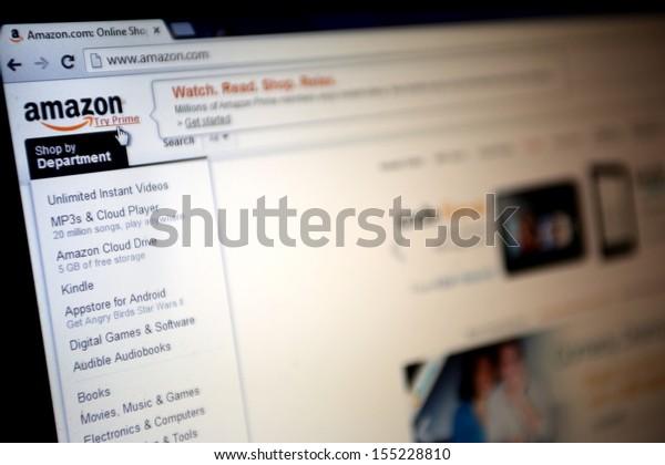 NEW YORK CITY - SEPT. 22: The homepage of online retailer Amazon in New York City on Sunday, September 22, 2013.