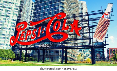 NEW YORK CITY - SEPTEMBER 05, 2015: Pepsi-Cola advertisement sign at Gantry Plaza State Park.