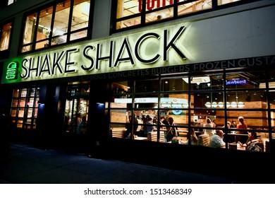 NEW YORK CITY, NEW YORK - SEPTEMBER 10, 2019: Shake Shack in New York City, USA.