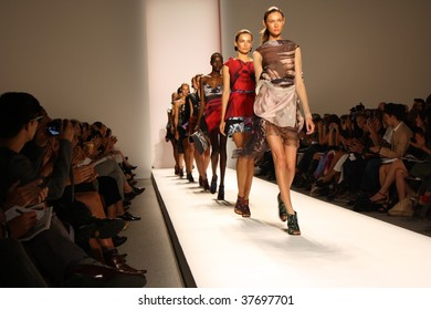 NEW YORK CITY - SEPTEMBER 10: Models present latest clothing from Michael Angel line at Mercedes Benz S/S fashion week September 10, 2009 in New York City.