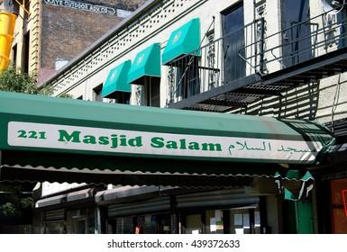 New York City - September 10, 2005:  Masjid Salam Muslim mosque on West 116th Street in Harlem