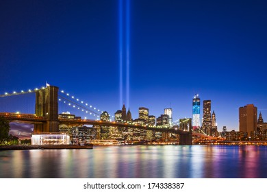 New York City with September 11 Tribute in Light Memorial.