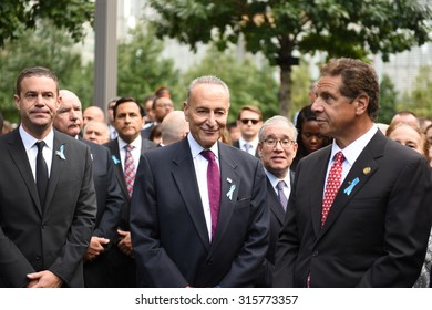 NEW YORK CITY - SEPTEMBER 11 2015: Memorial services were held at Ground Zero to mark the 14th anniversary of the World Trade Center attacks. Governor Andrew Cumo & senator Charles Schumer