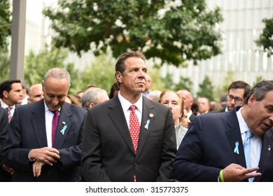 NEW YORK CITY - SEPTEMBER 11 2015: Memorial services were held at Ground Zero to mark the 14th anniversary of the World Trade Center attacks. Governor Andrew Cuomo