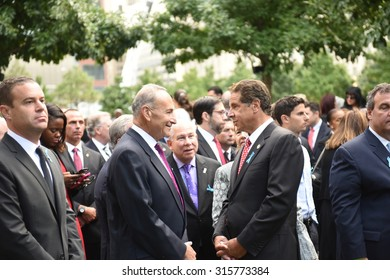 NEW YORK CITY - SEPTEMBER 11 2015: Memorial services were held at Ground Zero to mark the 14th anniversary of the World Trade Center attacks. Governor Andrew Cuomo & senator Charles Schumer,