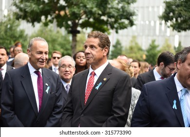 NEW YORK CITY - SEPTEMBER 11 2015: Memorial services were held at Ground Zero to mark the 14th anniversary of the World Trade Center attacks.