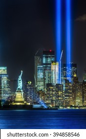 NEW YORK CITY - SEPTEMBER 11: The Statue of Liberty is seen in front of Manhattan Island on the evening of September 11, 2015 in New York City.