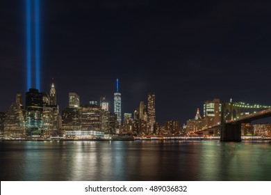 New York City - September 11, 2016: New York City Manhattan downtown skyline at night with the Tribute in Light in memory of September 11.