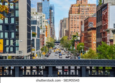 NEW YORK CITY - SEPTEMBER 11 2016: View down 10th Ave from High Line bridge in Chelsea, New York City.