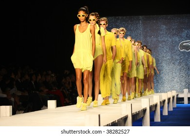 NEW YORK CITY - SEPTEMBER 12: Models present latest clothing from Lacoste at Mercedes Benz S/S fashion week September 12, 2009 in New York City.