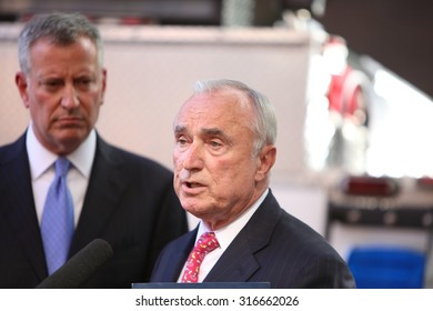 NEW YORK CITY - SEPTEMBER 14 2015: Mayor de Blasio and NYPD commissioner Bratton held a press conference following an exercise between NYPD and federal personnel for the forthcoming Papal visit to NYC