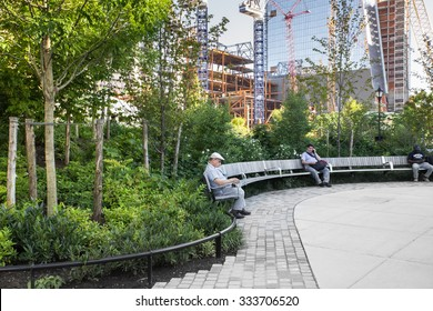 NEW YORK CITY -  SEPTEMBER 14, 2015: View of newly developed Hudson Yards Park in Manhattan with people visible.