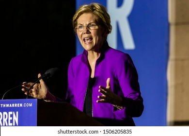 New York City - September 16, 2019: Presidential candidate Elizabeth Warren speaking at a rally in Washington Square Park.