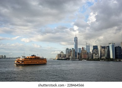 NEW YORK CITY - SEPTEMBER 16: Manhattan and the Staten Island ferry.  September 16, 2014, in New York City, USA. The Ferry is a municipal service since 1905 and carries over 21 million people by year