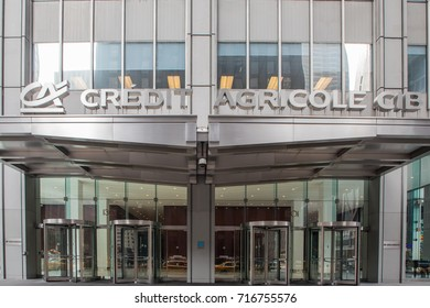 New York City, New York - September 17, 2017 Manhattan Headquarters of Credit Agricole CIB, the Corporate and Investment Bank Division of Credit Agricole Group formerly known as Calyon,