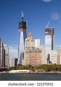 NEW YORK CITY - SEPTEMBER 19: One World Trade Center (formerly known as the Freedom Tower) and Tower 4 are shown under construction on September 19, 2012 in New York.