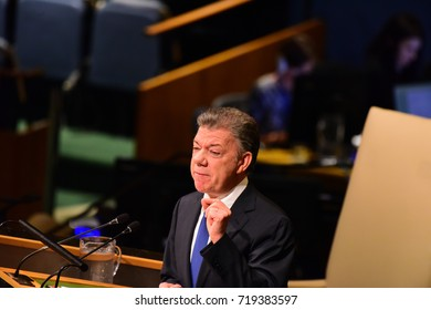NEW YORK CITY - SEPTEMBER 19 2017: The UN 72nd General Assembly opened its first week with debate, bringing a variety of world leaders to the GA Hall. Juan Manuel Santos Calderon, President Brazil