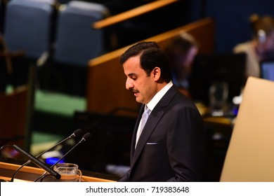 NEW YORK CITY - SEPTEMBER 19 2017: The UN 72nd General Assembly opened its first week with debate, bringing a variety of world leaders to Hall. H.H. Sheikh Tamim bin Hamad Al-Thani, Amir of Qatar