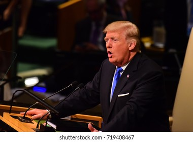 "NEW YORK CITY - SEPTEMBER 19 2017: The UN 72nd GA opened its first week with debate, bringing a variety of world leaders to the GA Hall. President Trump addresses GA, characterizing Un as ""Rocket Man"""