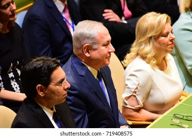 NEW YORK CITY - SEPTEMBER 19 2017: The UN 72nd General Assembly opened its first week with debate, bringing a variety of world leaders to the GA Hall. Israeli Prime Minister Benjamin Netanyahu reacts