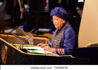 NEW YORK CITY - SEPTEMBER 19 2017: The UN 72nd General Assembly opened its first week with debate, bringing a variety of world leaders to the GA Hall. Liberian President Ellen Johnson-Sirleaf speaks