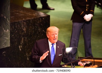 """NEW YORK CITY - SEPTEMBER 19 2017: The UN 72nd GA opened its first week with debate, bringing a variety of world leaders to the GA Hall. President Trump addresses GA, characterizing Un as """"Rocket Man"""""""