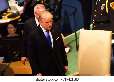 NEW YORK CITY - SEPTEMBER 19 2017: The UN 72nd General Assembly opened its first week with debate, bringing a variety of world leaders to the GA Hall. US President Trump at General Assembly Hall