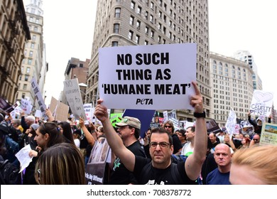 NEW YORK CITY - SEPTEMBER 2 2017: More than 1000 animal rights activists gathered for a rally & march for animal rights in Manhattan