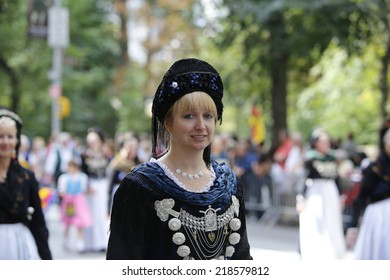 NEW YORK CITY - SEPTEMBER 20 2014: the 57th annual Steuben Parade on Fifth Avenue celebrates German-American heritage prior to Central Park's Oktoberfest. Old Country attire