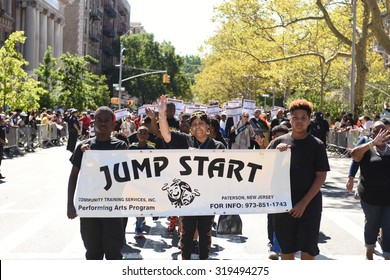 NEW YORK CITY - SEPTEMBER 20 2015: The 46th annual African-American Day Parade filled Adam Clayton Powell, Jr Blvd from 111th to 136th Sts.
