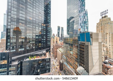 NEW YORK CITY - SEPTEMBER 2015: Buildings of Midtown Manhattan as seen from rooftop. New York attracts 50 million people annually.