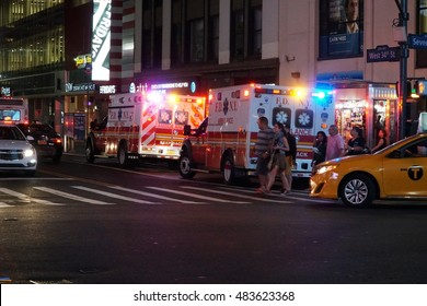 New York City - September 2016: FDNY Ambulance at night responding to an emergency medical situation in Manhattan. Fire Department first responders rush to the breaking news scene.