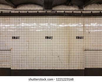 New York City - September 21, 2018: 175th Street Subway Station - George Washington Bridge Bus Terminal in the New York City subway system.