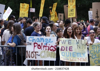 NEW YORK CITY - SEPTEMBER 21 2014: the People's Climate March in Manhattan brought several hundred thousand people for a march from Columbus Circle through Midtown calling attention to global warming