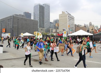 NEW YORK CITY - SEPTEMBER 21: The Peoples Climate March (PCM) in New York City, New York on September 21, 2014. With 311,000 participants, this is the largest climate change march in history to date.