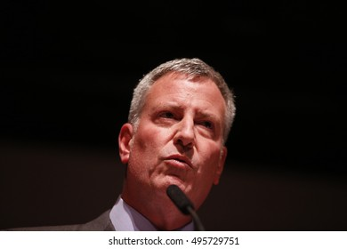 NEW YORK CITY - SEPTEMBER 21 2016: VOCAL NY, Voices of Community Activists & Leaders, staged its anniversary gala & awards ceremony at Roulette in Brooklyn. NY mayor Bill de Blasio