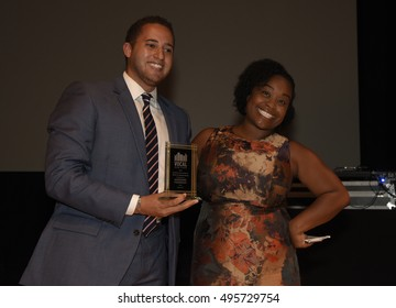 NEW YORK CITY - SEPTEMBER 21 2016: VOCAL NY, Voices of Community Activists & Leaders, staged its anniversary awards ceremony at Roulette in Brooklyn. Kassandra Frederique & Ithaca mayor Svante Myrick