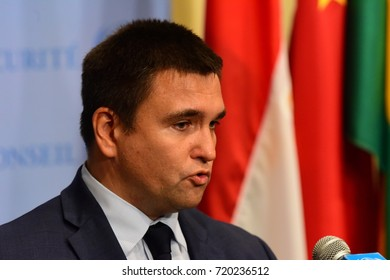 NEW YORK CITY - SEPTEMBER 21 2017: Ukranian foreign minister Pavlo Klimkin spoke to the press during a media stake out after the UN Security Council met in the late afternoon to discuss North Korea