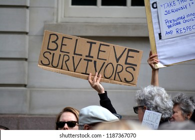 New York City - September 24, 2018: Rally in support of Dr. Blasey Ford and all victims of sexual assault at City Hall in Lower Manhattan.