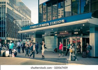 NEW YORK CITY - SEPTEMBER 24, 2015:  View outside Pennsylvania Station in New York City
