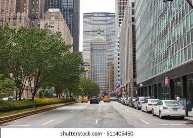 NEW YORK CITY - SEPTEMBER 24, 2016: Looking down Park Avenue towards the Metlife building and the Helmsley building