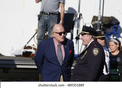 NEW YORK CITY - SEPTEMBER 25 2016: the 15th annual Stephen Sillers Tunnel to Towers 5K Run/Walk saw record number of participants. Former mayor Rudy Giuliani with Deputy NYPD Charles Scholl