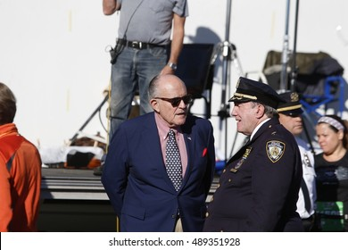 NEW YORK CITY - SEPTEMBER 25 2016: the 15th annual Stephen Sillers Tunnel to Towers 5K Run/Walk saw record number of participants. Former mayor Rudy Giuliani with Deputy NYPD chief Charles Scholl