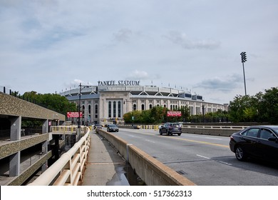 NEW YORK CITY - SEPTEMBER 27, 2016: Outside view of Yankee Stadium in Bronx, seen from the Macombs Dam Bridge