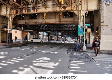 NEW YORK CITY - SEPTEMBER 27, 2016: Crossings under the train bridge at East 161 Street in Bronx near Yankee Stadium