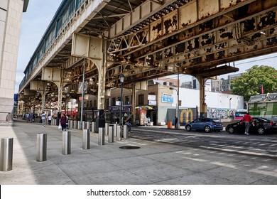 NEW YORK CITY - SEPTEMBER 27, 2016: River Avenue under the train bridge at East 161 Street in Bronx near Yankee Stadium