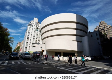 NEW YORK CITY - SEPTEMBER 27, 2016: Streetview of The Solomon R Guggenheim Museum rotunda facade