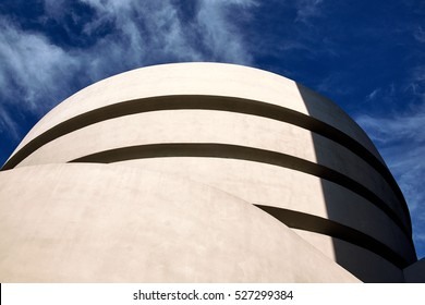NEW YORK CITY - SEPTEMBER 27, 2016: Low angle photography of the spiral shaped tower of the famous Solomon R Guggenheim Museum tower