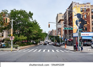 NEW YORK CITY - SEPTEMBER 27, 2016: Long view up Broadway from west 155 street in Harlem